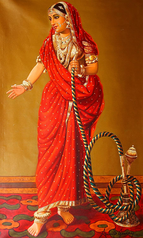 Mujer con cachimba - óleo sobre lienzo