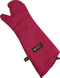 "San Jamar KT0218 Cool Touch Flame Conventional High Heat Intermittent Flame Protection up to 900°F Oven Mitt, 17"" Length, Red"