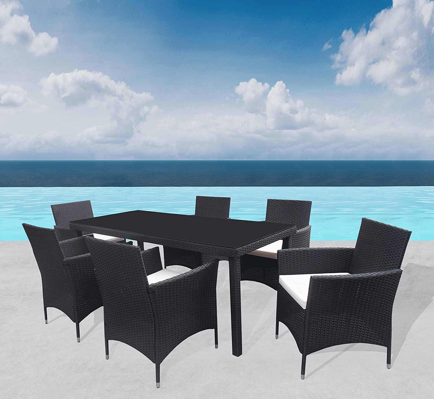 outdoor sitzgruppe milano lounge schwarz gartenset sofa. Black Bedroom Furniture Sets. Home Design Ideas