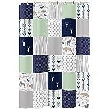 Navy Blue, Mint and Grey Woodsy Animal Geometric Arrow Boys Kids Bathroom Fabric Bath Shower Curtain