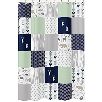 Navy Blue Mint And Grey Woodsy Animal Geometric Arrow Boys Kids Bathroom Fabric Bath Shower