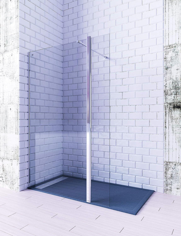 MAMPARA FRONTAL 1 HOJA FIJA + 1 HOJA ABATIBLE DE CORTE RECTO. CRISTAL TEMPLADO 6MM TRANSPARENTE (80cm + 40cm): Amazon.es: Bricolaje y herramientas