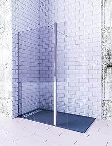 MAMPARA FRONTAL 1 HOJA FIJA + 1 HOJA ABATIBLE DE CORTE RECTO. CRISTAL TEMPLADO 6MM TRANSPARENTE (90cm + 40cm): Amazon.es: Bricolaje y herramientas