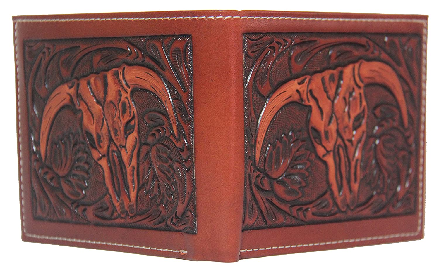Custom 3D Belt Company New Ornate Cross Long Rodeo Checkbook Brown amd Tan Cow Skull Wallet