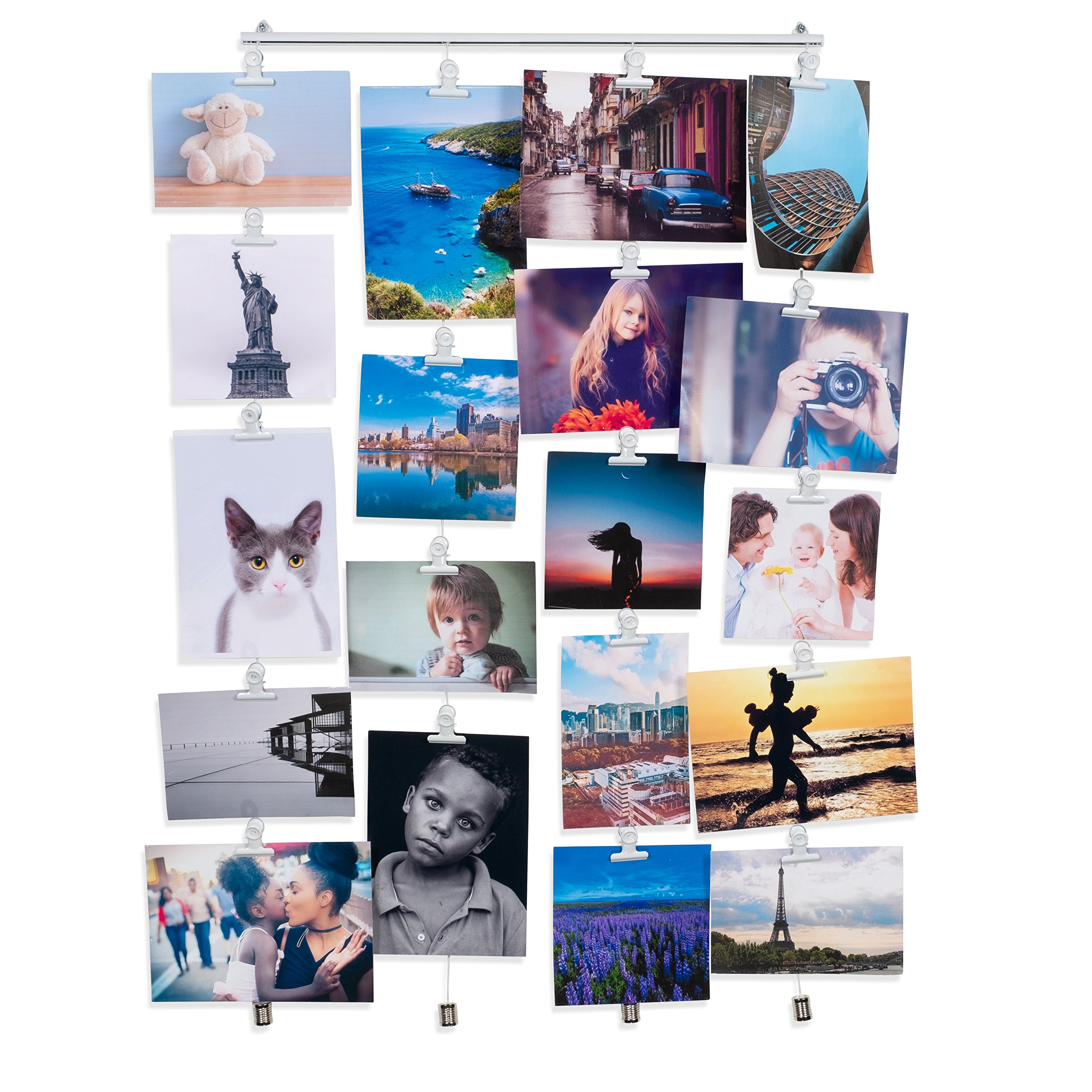 BHG Hanging Picture Display Photo Holder with 4 Metal Cable Strings and 20 Magnetic Clips Metal White