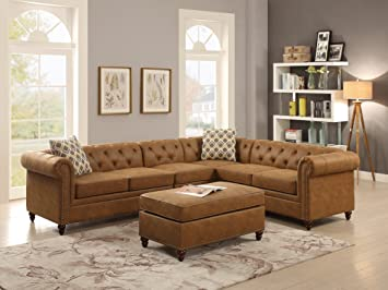 Sectional Sofa 4pc Set Camel Leatherette Tufted Comfort Couch Rolled Arms  Nailhead Trim Loveseat Wedge Chair