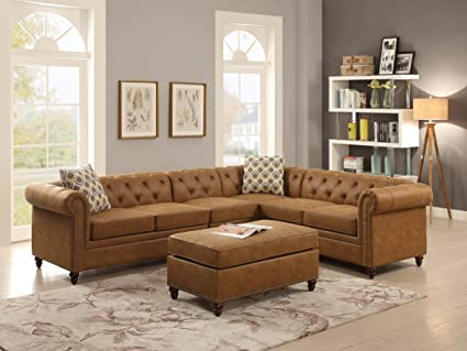 Etonnant Sectional Sofa 4pc Set Camel Leatherette Tufted Comfort Couch Rolled Arms Nailhead  Trim Loveseat Wedge Chair