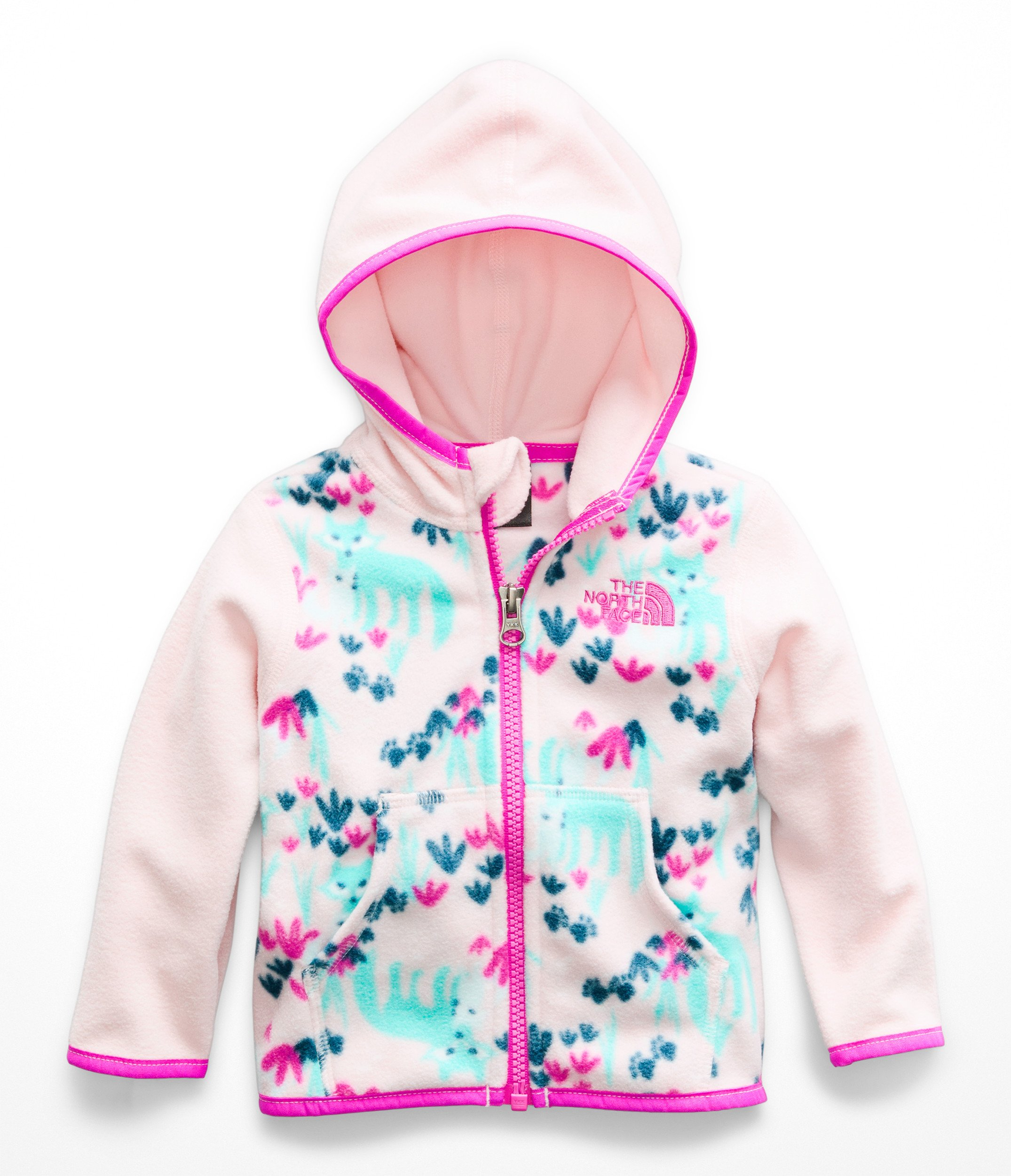 The North Face Infant Glacier Full Zip Hoodie - Purdy Pink Fox Floral Print - 18M