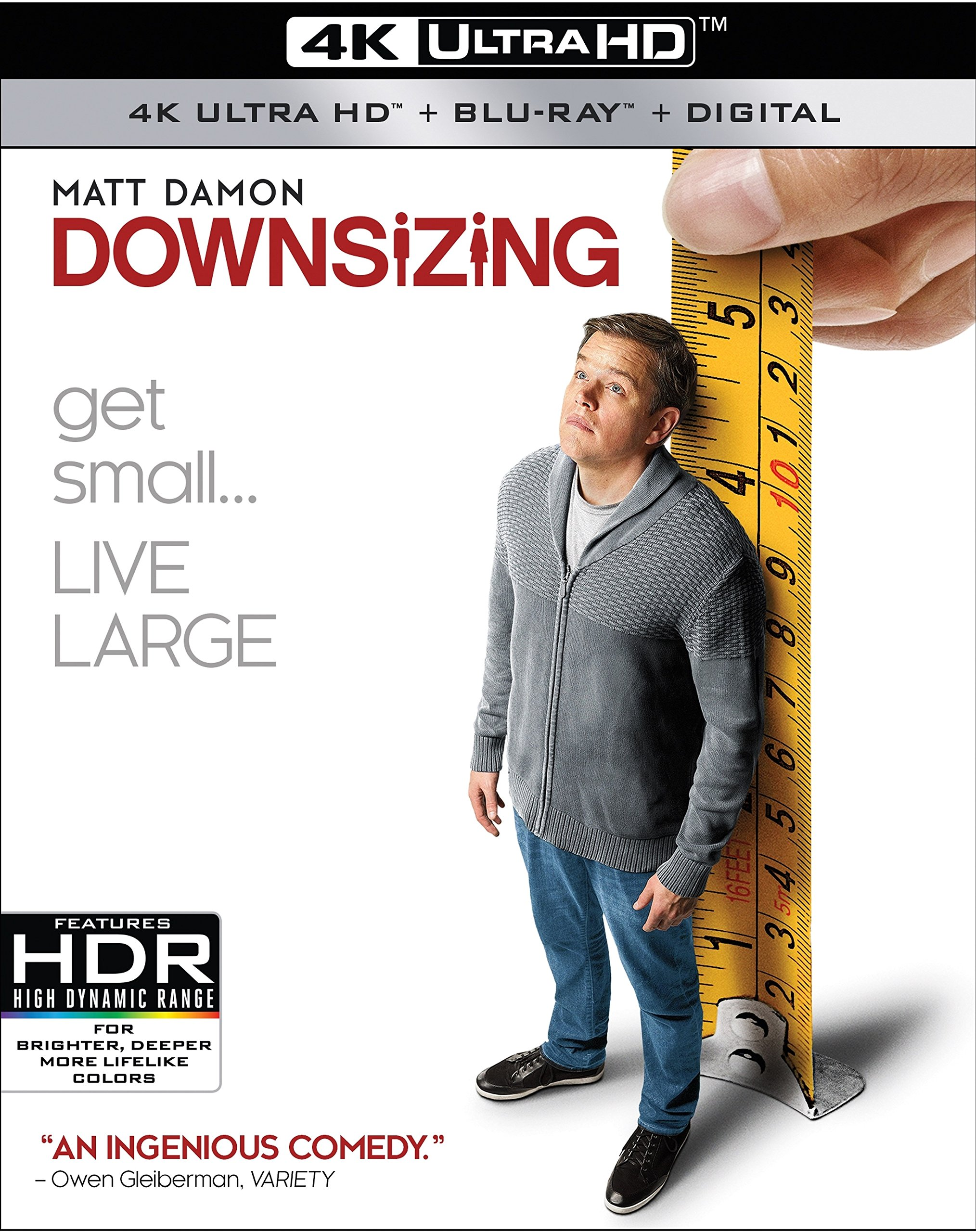 4K Blu-ray : Downsizing (With Blu-Ray, 4K Mastering, Digitally Mastered in HD, 2 Pack, Widescreen)