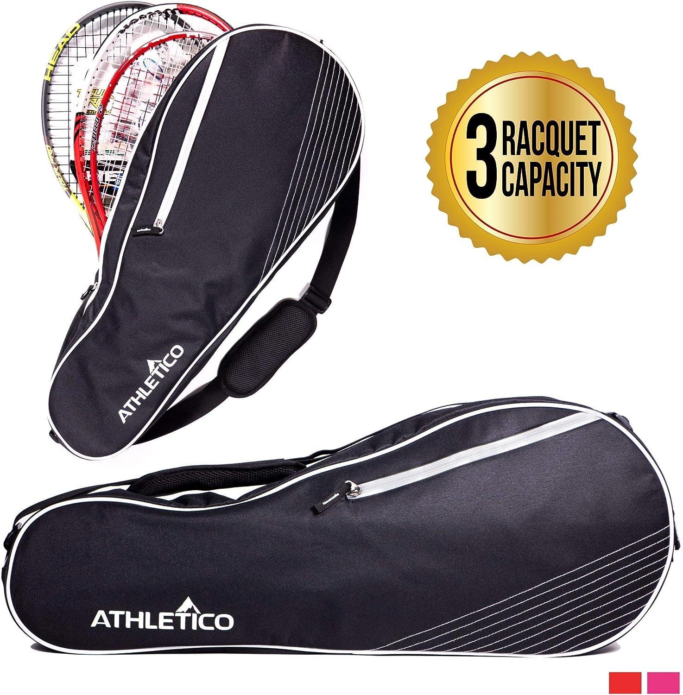 Athletico Sac de tennis 3 raquettes rembourré pour protéger les raquettes et les raquettes léger, professionnel ou débutant, design unisexe pour homme, femme, jeune et adulte