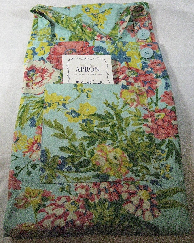 April Cornell Zinnia Floral Apron 100/% Cotton Aqua COMINHKPR106362