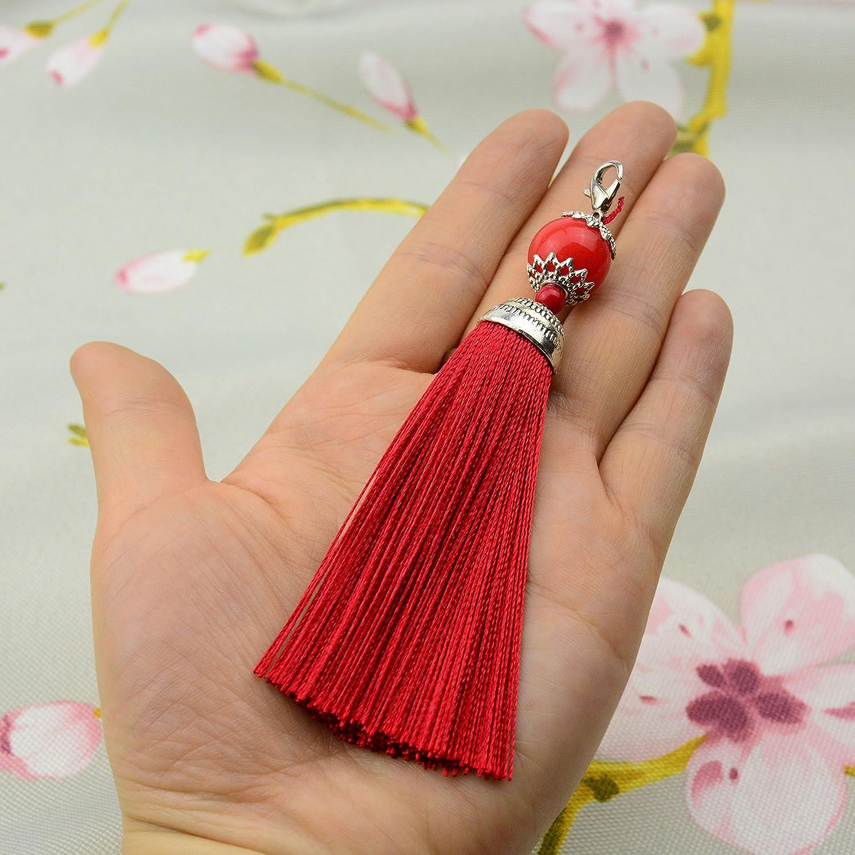 Makhry 10pz 11, 4cm Handmade Silky Floss moschettone nappa segnalibro Key Chain Beads nappa ciondolo per fai da te artigianale gioielli donna orecchini Green