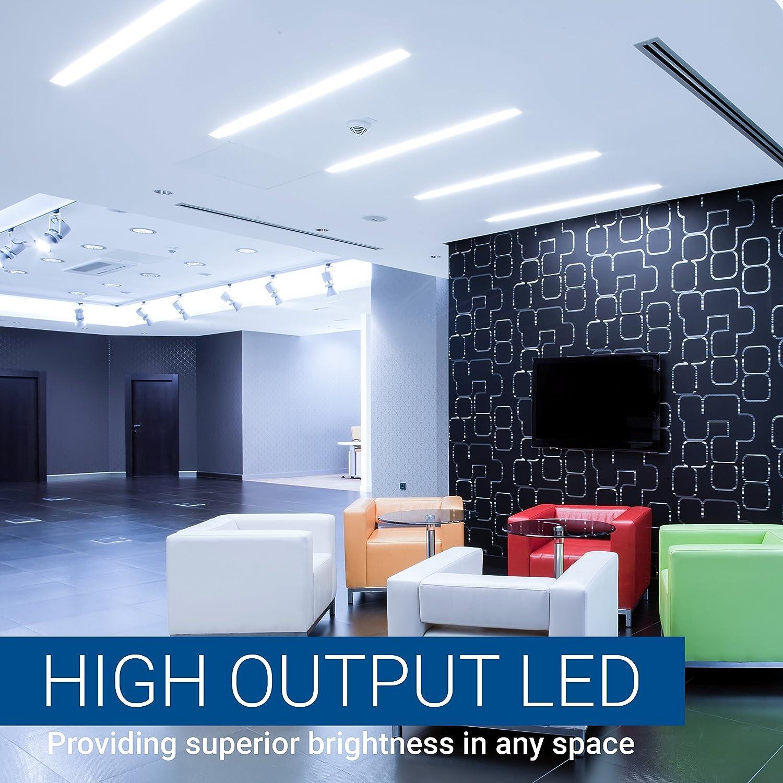 40 Watt 4000K Daylight 18W Forsted Dual End T10 Light Tube Hyperikon T8 T12 LED Bulbs 4 Foot 12 Pack Ballast Compatible