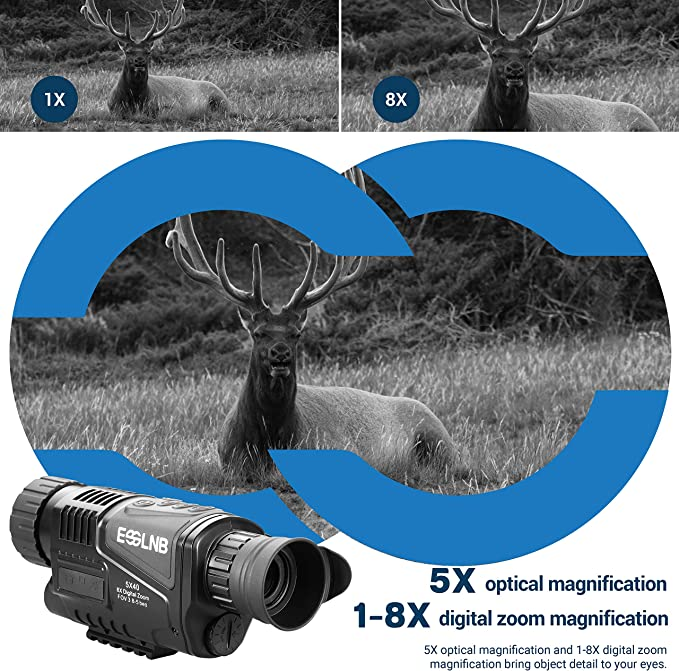 Digital Monocular de Visi/ón Nocturna Zoom Digital 5X HD Alcance de Visualizaci/ón de 656ft//200m C/ámara Infrarroja Port/átil con Pantalla TFT de 1.5 y Tarjeta de 16GB TF Tomar HD Fotos//Videos,Camuflaje