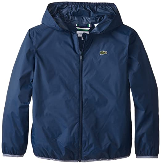 afd33901368d Lacoste Big Boys  Lightweight Nylon Jacket with Hood