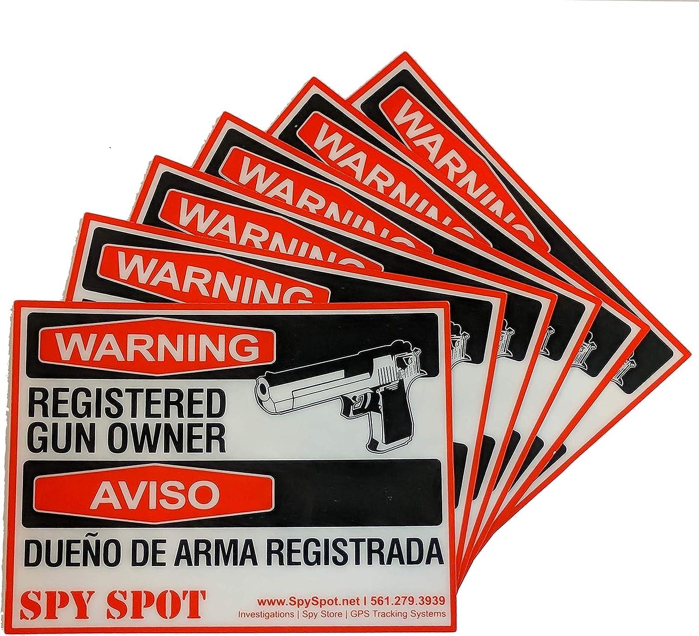 Spy Spot 6 Pack Registered Gun Owner Sticker Decal Vinyl Door or Window 4