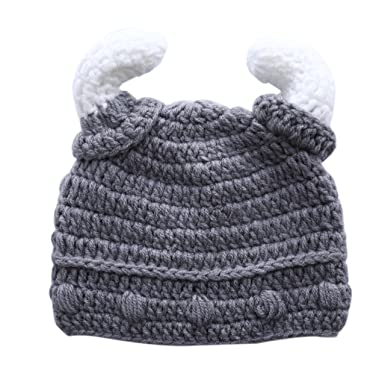 f0c52b4b247 Children Baby Kids Cartoon Cute Autumn Winter Ox Horn Knit Hat Hedging Cap  Beanies  Amazon.co.uk  Clothing