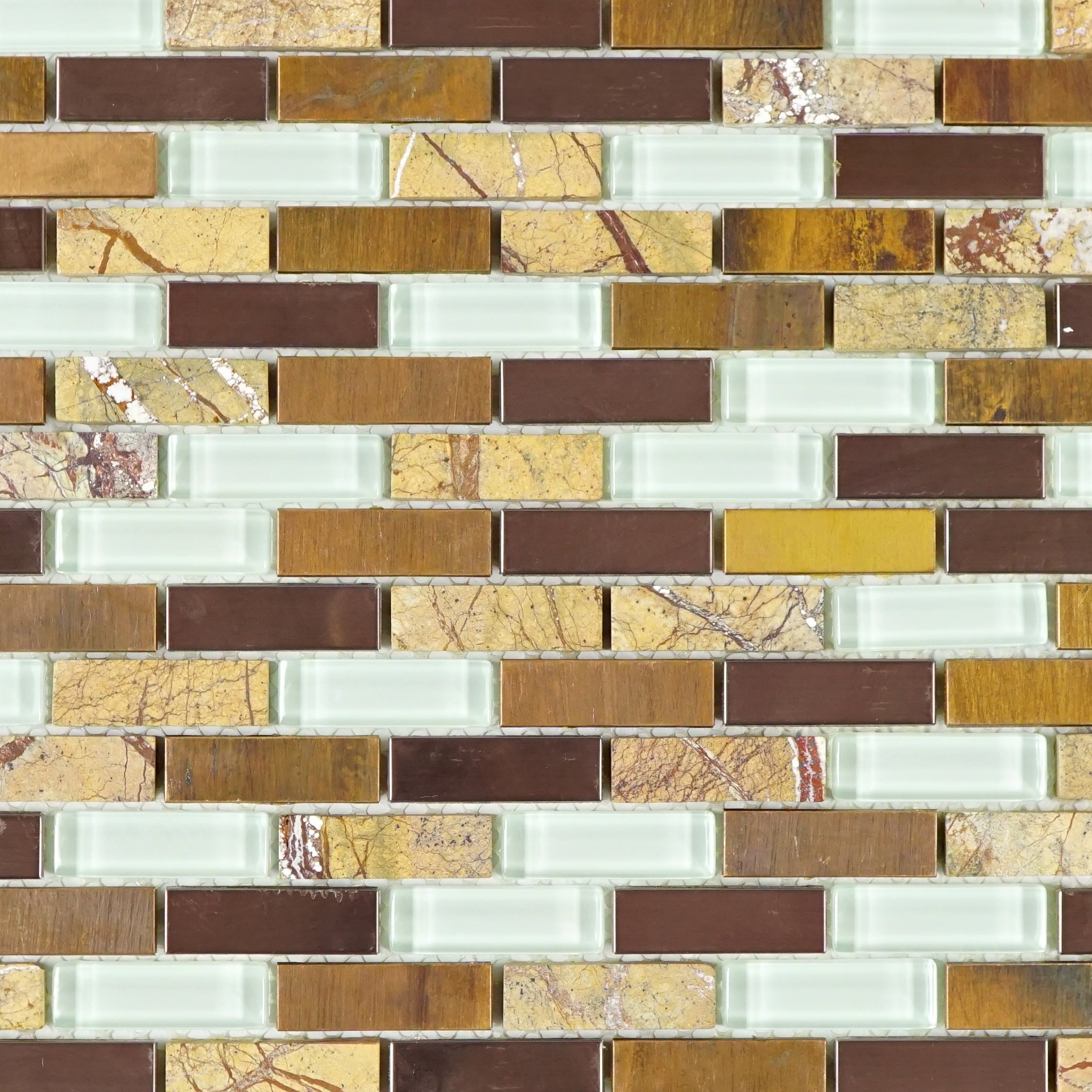 Tile Generation- TMSG-01 Brown stone and glass mosaic tile with copper stainless steel 12x12 (1 sheet)