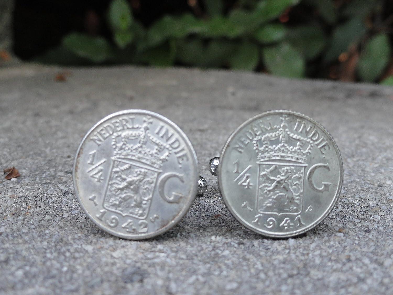 Quarter Dutch East Indies Gulden Coin Cufflinks