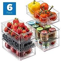 Set Of 6 Refrigerator Organizer Bins - Stackable Fridge Organizers with Cutout Handles for Freezer, Kitchen, Countertops…