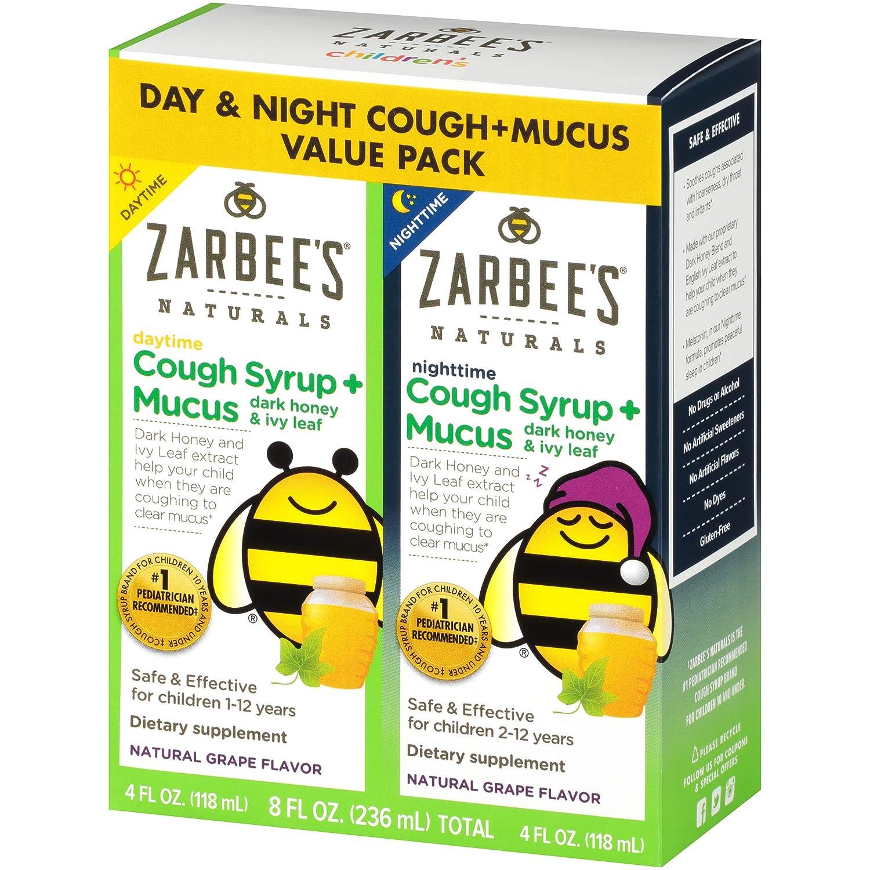 Zarbee's Naturals Children's Cough Syrup + Mucus with Dark Honey & Ivy Leaf  Daytime & Nighttime,
