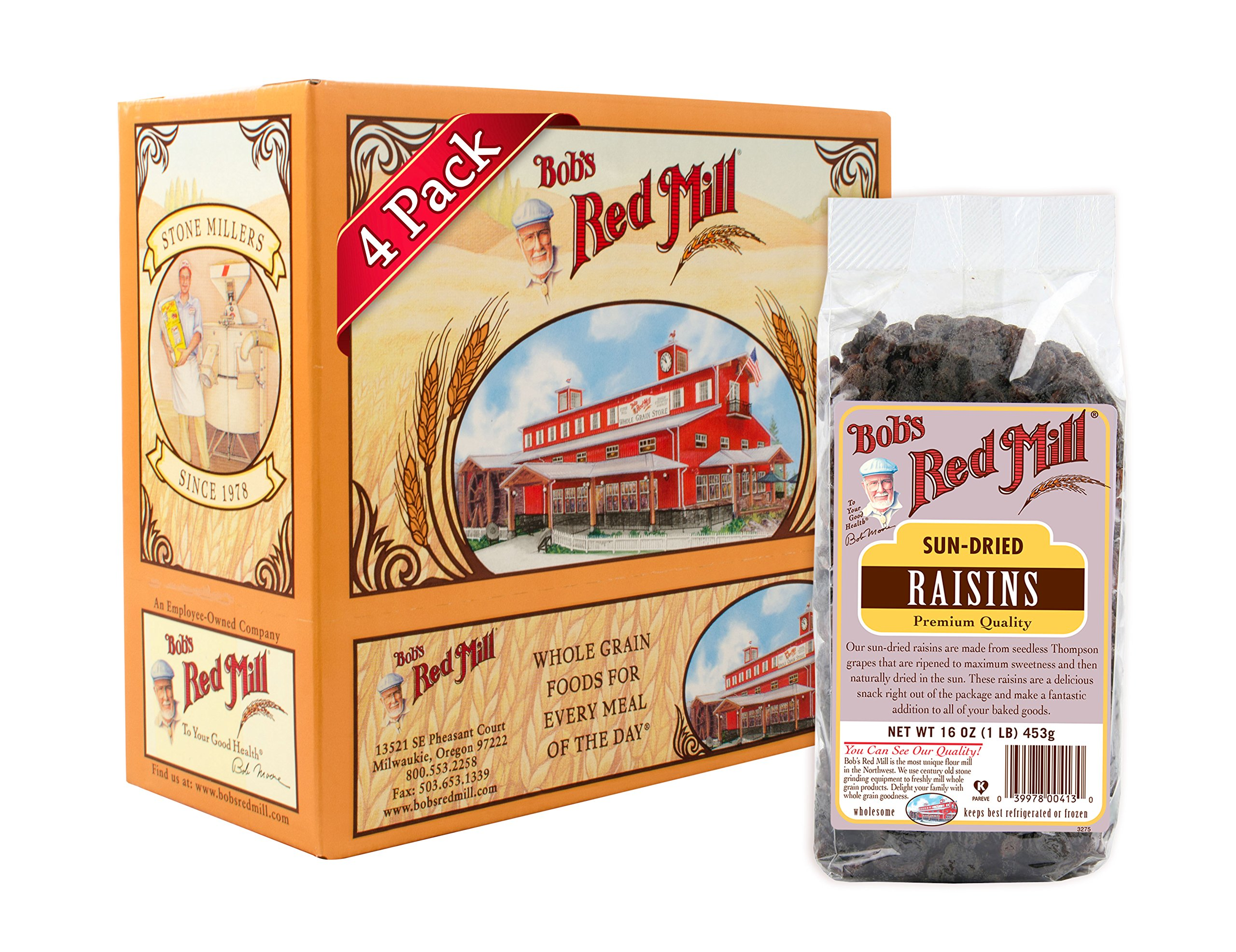 Bob's Red Mill Sun Dried Raisins Unsulphured, 16 Ounce (Pack of 4)