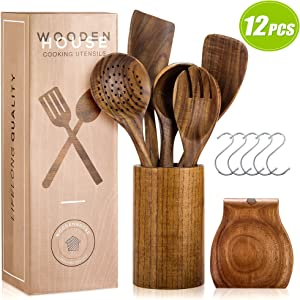 Wooden Utensils for Cooking Set with Holder, Natural Nonstick Teak Wood Spoons Spatula and Spoon Rest, Cookware for Kitchen, Handmade Utensil Pieces, Durable Tools, Healthy and Eco-friendly, Set of 12