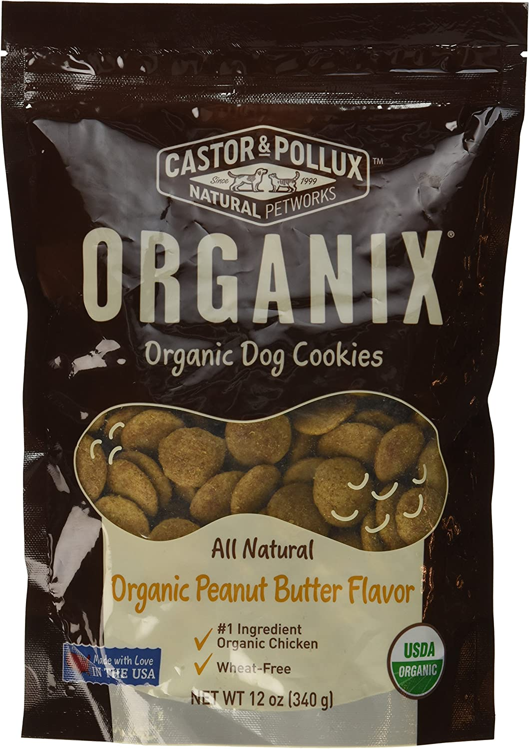 Organix, Organic Dog Treat Cookies Peanut Butter, 12 oz