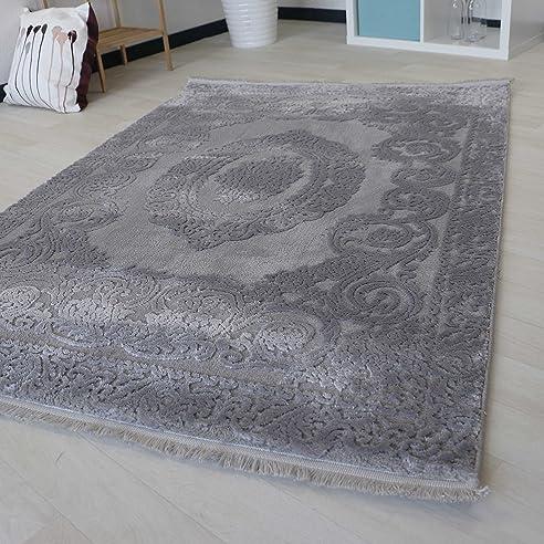 Amazon.de: Moderner Teppich für Wohnzimmer mit Medaillon Muster in ...