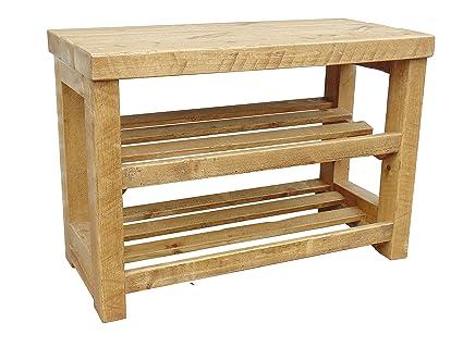 Zapatero de madera rústico con asiento: Amazon.es: Hogar