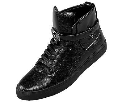 4ed83c8f75baa8 Sio Mens Metallic Pebble Grain High Top Sneaker