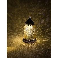 Home&Decorations H&D® - Farol de Cristal con Cubierta de Metal, LED, Color Dorado Envejecido