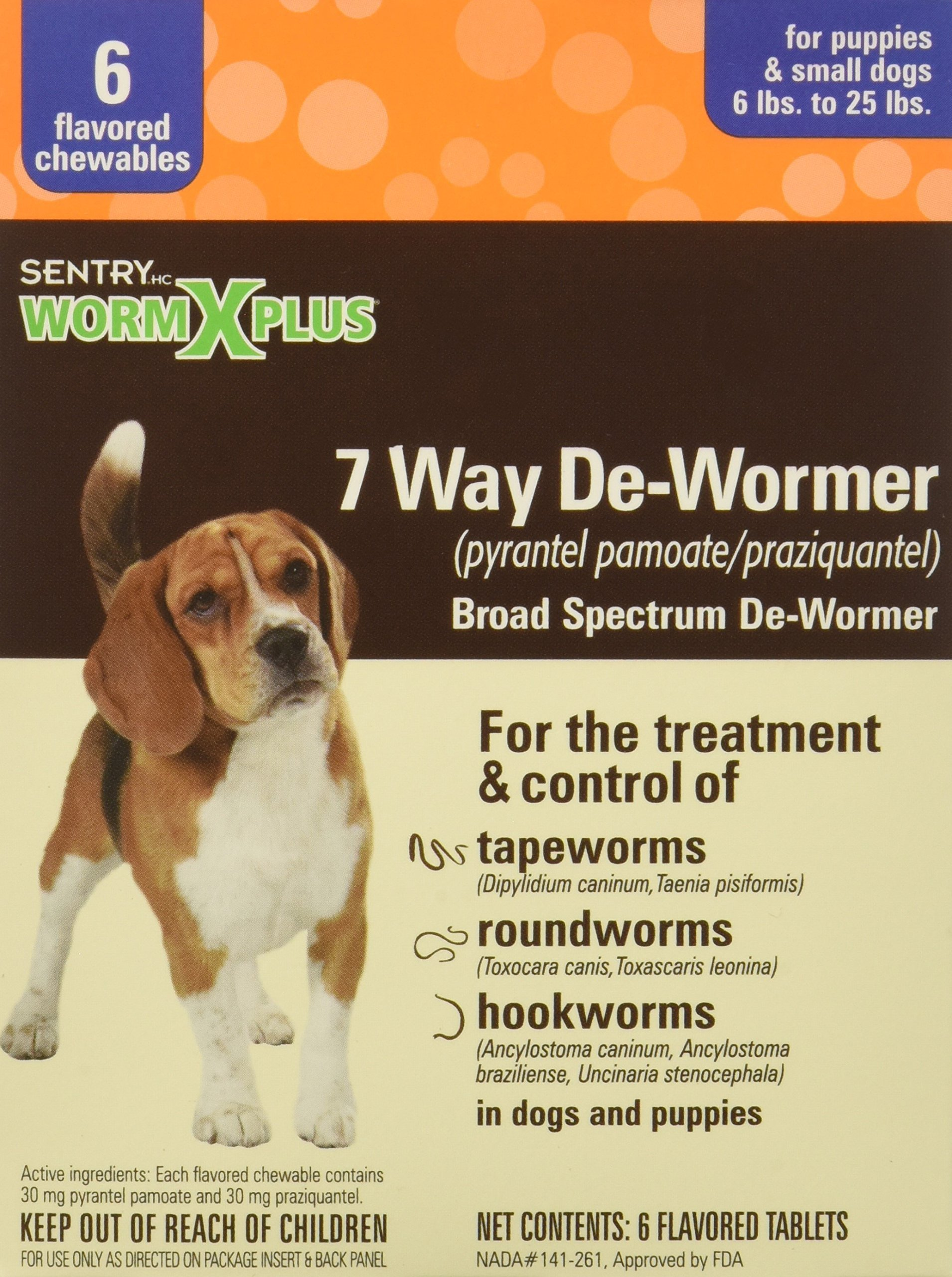 SENTRY Worm X Plus 7 Way DeWormer Small Dogs (6 count)