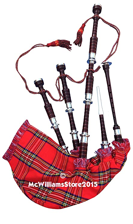 14541c625de7 Amazon.com  McWilliams PROFESSIONAL SCOTTISH HIGHLAND BAGPIPE NATURAL FNS  MOUNTS RS TARTAN AND HARD CASE  Musical Instruments