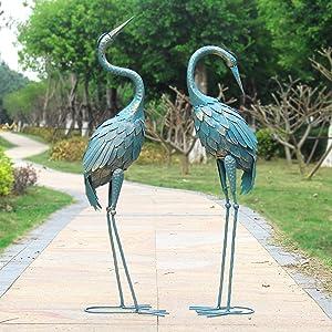 Oritty 35-40 Inch Standing Garden Crane Statues for Outdoor Set of 2 Metal Birds Garden Sculptures Yard Art for Home Backyard Patio Lawn Decoration, Bronze