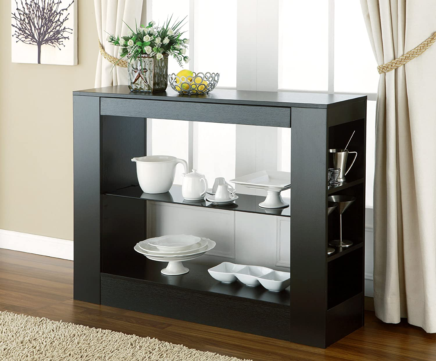 Amazon.com   HOMES: Inside + Out IoHOMES Somerset Multi Storage Dining  Buffet Console Table, Black   Buffets U0026 Sideboards