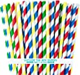 Outside the Box Papers Lego Theme Striped Paper Straws 7.75 Inches 100 Pack Blue, Red, Green, Yellow, White