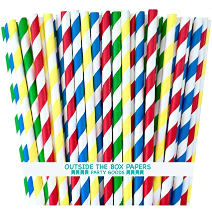 Amazon.com: Outside the Box Papers Lego Theme Striped Paper Straws ...