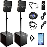 PRORECK Club 3000 12-Inch 4000w DJ Powered PA Speaker System Combo Set with Bluetooth USB SD Card Remote Control,Two subwoofe