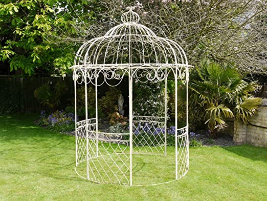 French crema Shabby Chic de hierro forjado decorativo para dolores de Fancy Metal Garden Gazebo blanco 225 cm H 300 cm: Amazon.es: Jardín