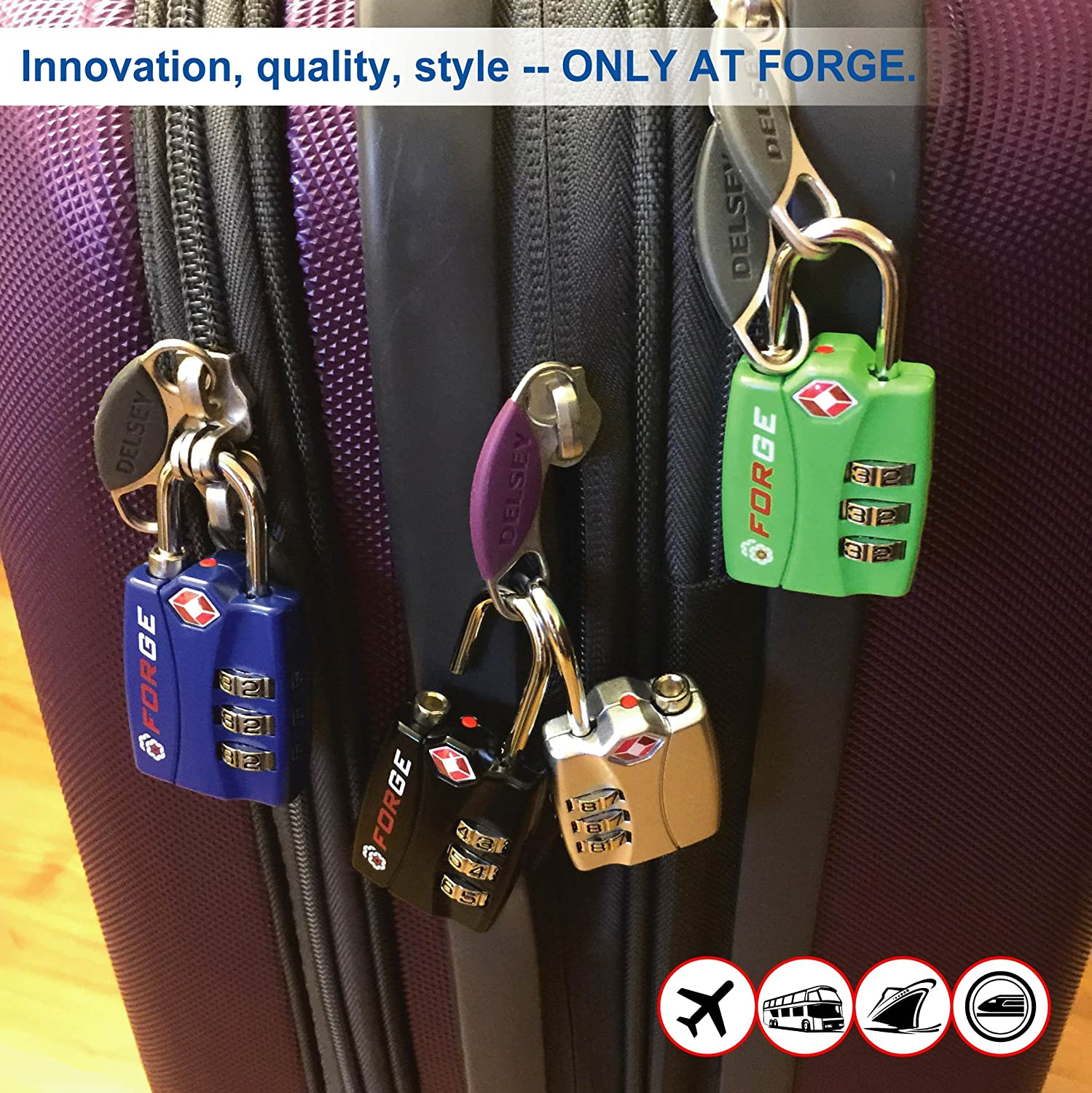 Amazon.com: Forge TSA Locks 2 Pack - Open Alert Indicator, Alloy ...