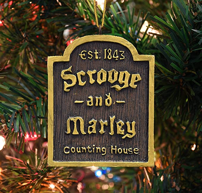 Christmas Carol Scrooge And Marley.Tree Buddees A Christmas Carol Scrooge Marley Counting House Sign Ornament