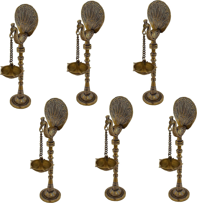 Indian Diwali Oil Lamp Pooja Diya Brass Light Puja Decorations Mandir Decoration Items Home Backdrop Decor Lamps Made in India Decorative Wicks Diyas Peacock Kuthu Vilakku Deepam Set of 6 - Golden