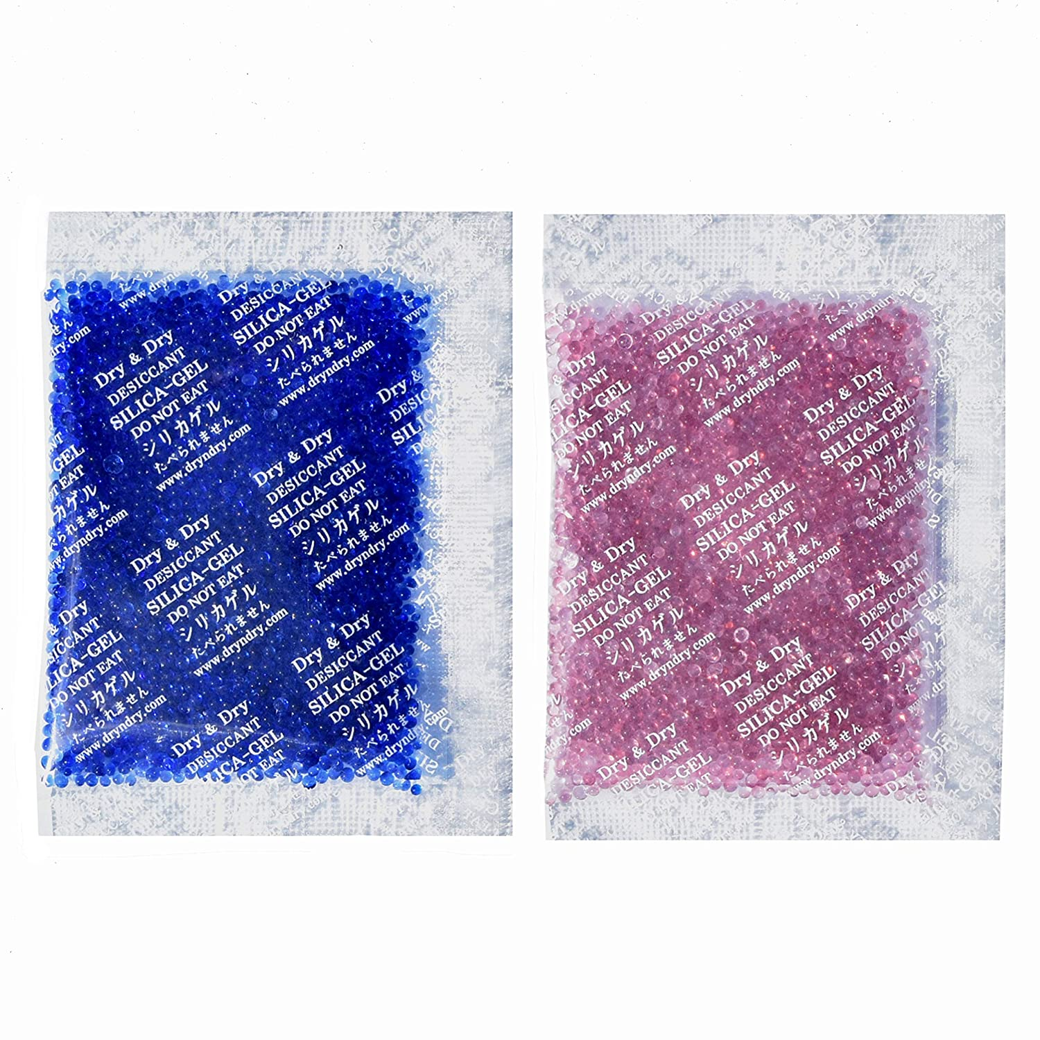 Dry & Dry 20 Gram [30 Packets] Premium Blue Indicating(Blue to Pink) Silica Gel Packets Desiccant Dehumidifier - Rechargeable Silica Packets for Moisture Absorber
