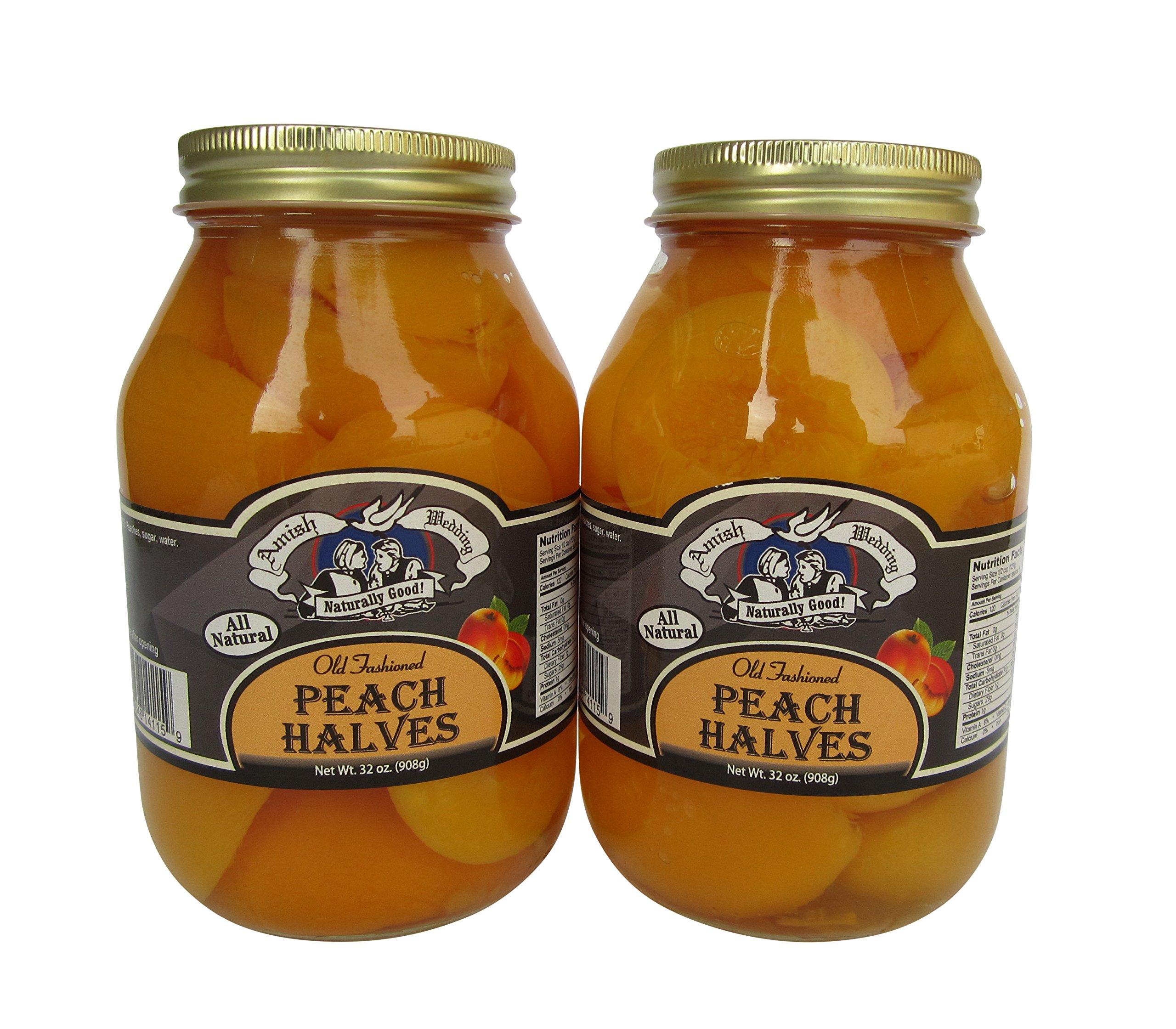 Amish Wedding Foods Old Fashioned Peach Halves 2 - 32 oz Jars