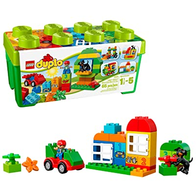 LEGO DUPLO All-in-One-Box-of-Fun Building Kit 10572 Open Ended Toy for Imaginative Play with Large LEGO bricks made for toddlers and preschoolers (65 Pieces): Toys & Games