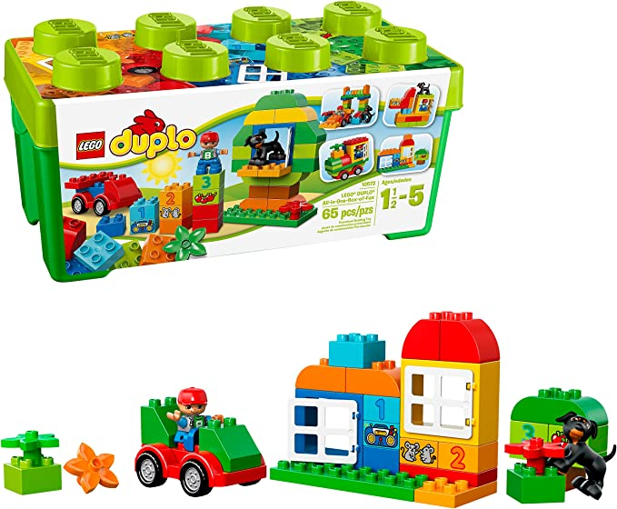 Amazon.com: LEGO DUPLO All-in-One-Box-of-Fun Building Kit 10572 Open Ended Toy for Imaginative Play with Large LEGO bricks made for toddlers and preschoolers (65 Pieces): Toys & Games