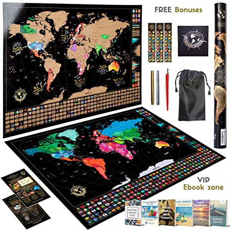 Amazon scratch off world map wall poster ultimate pack of scratch off world map wall poster ultimate pack of tools and travel ebooks stylish gumiabroncs Image collections