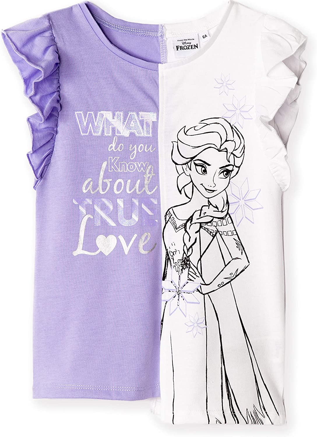 100/% Cotton Made Disney Frozen Elsa /& Anna Official Girls T-Shirt Detailed with Shiny Glitter 2-8 Years