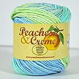 Spinrite Peaches & Creme (Cream) Cotton Yarn Stripes Seaside Stripes